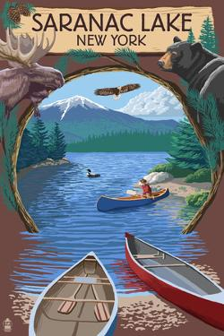 Saranac Lake, New York - Adirondacks Canoe Scene by Lantern Press