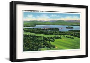 Saranac Lake, New York - Aerial View of Saranac Inn Golf Course and Mountains by Lantern Press