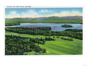 Saranac Lake, New York - Aerial View of Saranac Inn Golf Course and Mountains by Lantern Press