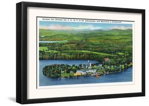 Saranac Lake, New York - Aerial View of Saranac Inn by Lantern Press