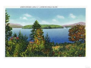 Saranac Lake, New York - Eagle Island and Lower Saranac Lake View by Lantern Press
