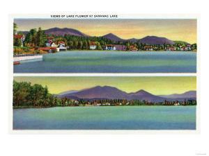 Saranac Lake, New York - Two Views of Lake Flower by Lantern Press