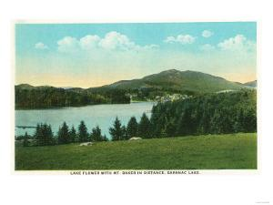 Saranac Lake, New York - View of Lake Flower with Mt. Baker in Distance by Lantern Press