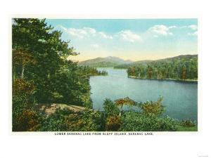 Saranac Lake, New York - View of Lower Saranac Lake from Bluff Island by Lantern Press