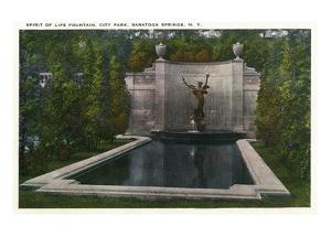 Saratoga Springs, New York - City Park, Spirit of Life Fountain View by Lantern Press