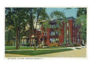 Saratoga Springs, New York - City Park View of Casino Exterior by Lantern Press