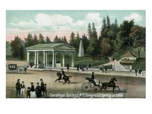 Saratoga Springs, New York - Congress Spring Scene in 1848 by Lantern Press