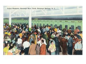 Saratoga Springs, New York - Crowds at Race Track Ticket Windows by Lantern Press