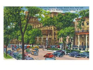 Saratoga Springs, New York - Grand Union and Rip Van Winkle Hotels View by Lantern Press