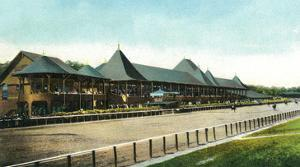 Saratoga Springs, New York - Race Course Grand Stand View by Lantern Press