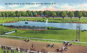 Saratoga Springs, New York - View of the Race Track Finish Line by Lantern Press
