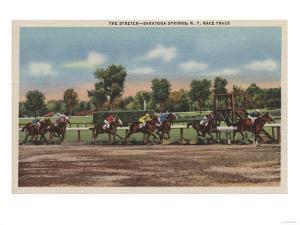 Saratoga Springs, NY - Horse Race Track Scene by Lantern Press