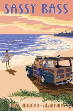 Sassy Bass - Fort Morgan, Alabama - Woody on the Beach by Lantern Press