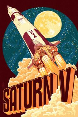 Saturn V Styalized by Lantern Press