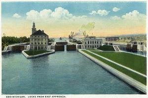 Sault Ste. Marie, Michigan - View of the Soo-Michigan Locks from the Eastern Approach by Lantern Press