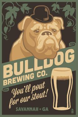 Savannah, Georgia - Bulldog - Retro Stout Beer Ad by Lantern Press
