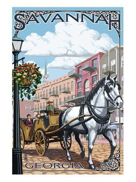 Savannah, Georgia - Horse and Carriage by Lantern Press
