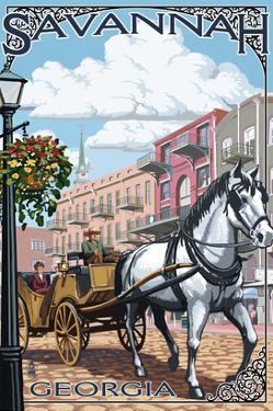 Savannah, Georgia - Horse and Carriage by Lantern Press