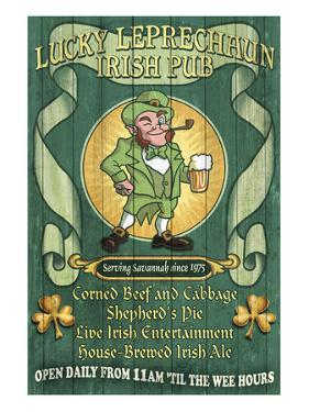 Savannah, Georgia - Leprechaun Irish Pub by Lantern Press