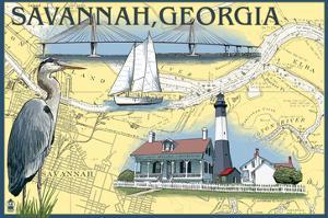 Savannah, Georgia - Nautical Chart by Lantern Press