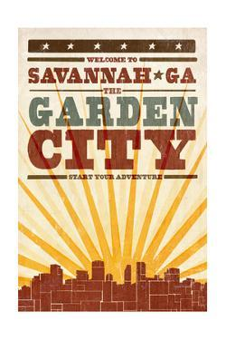 Savannah, Georgia - Skyline and Sunburst Screenprint Style by Lantern Press