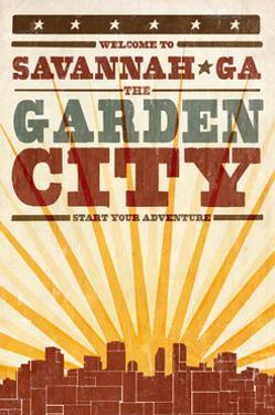 Savannah, Georgia - Skyline and Sunburst Screenprint Style by Lantern Press