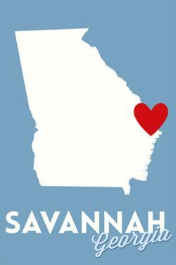 Savannah, Georgia - State Outline and Heart by Lantern Press
