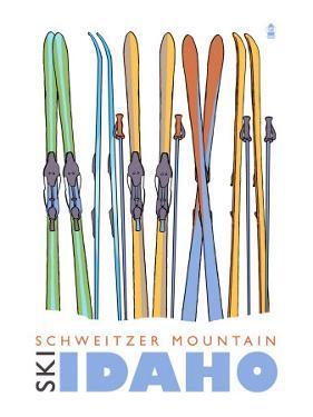 Schweitzer Mountain, Idaho, Skis in the Snow by Lantern Press