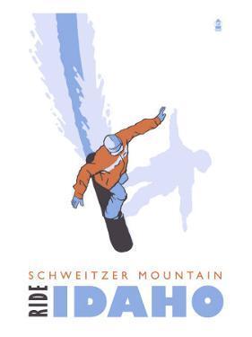 Schweitzer Mountain, Idaho, Stylized Snowboarder by Lantern Press