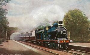 Scotland - Caledonian Railways Highland Express Train View by Lantern Press