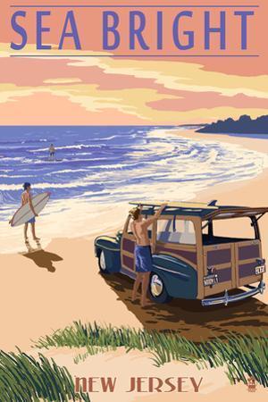 Sea Bright, New Jersey - Woody on the Beach by Lantern Press