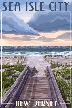 Sea Isle City, New Jersey - Beach Boardwalk Scene by Lantern Press