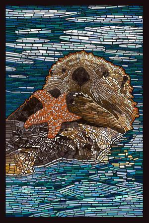 Sea Otter - Paper Mosaic by Lantern Press