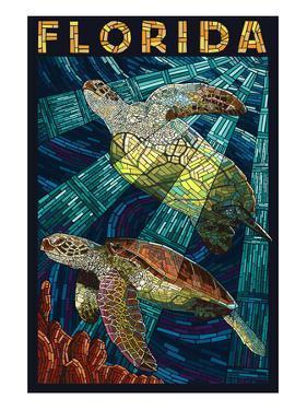 Sea Turtle Paper Mosaic - Florida by Lantern Press