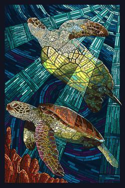 Sea Turtle - Paper Mosaic by Lantern Press