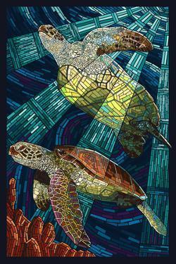 Sea Turtle - Paper Mosaic by Lantern Press