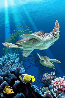 Sea Turtle Swimming by Lantern Press
