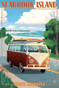 Seabrook Island, South Carolina - VW Van Coastal Drive by Lantern Press