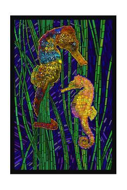 Seahorses - Paper Mosaic by Lantern Press