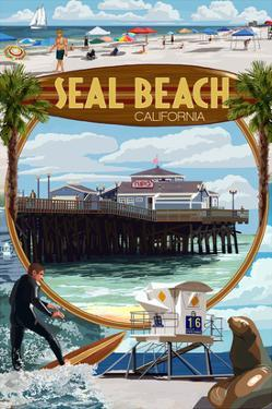 Seal Beach, California - Montage Scenes by Lantern Press