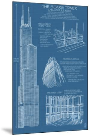 Sears Tower Blue Print - Chicago, Il, c.2009 by Lantern Press