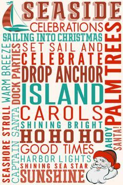 Seaside, California - Christmas Typography by Lantern Press