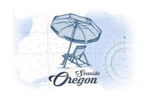 Seaside, Oregon - Beach Chair and Umbrella - Blue - Coastal Icon by Lantern Press