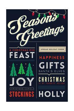 Seasons Greetings - Christmas Block Typography by Lantern Press