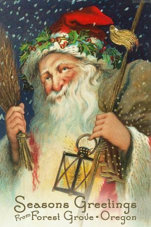Seasons Greetings from Forest Grove, Oregon - Santa Holding Lantern by Lantern Press