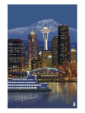 Seattle, Washington at Night - Image Only by Lantern Press