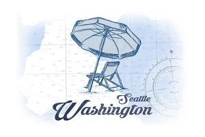 Seattle, Washington - Beach Chair and Umbrella - Blue - Coastal Icon by Lantern Press
