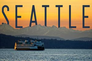 Seattle, Washington - Ferry and Orange Sunset by Lantern Press