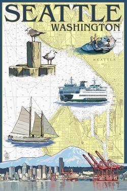 Seattle, Washington - Nautical Chart by Lantern Press