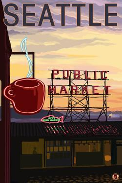 Seattle, Washington - Pike Place Market Sign and Water View by Lantern Press